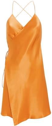 Mason by Michelle Mason Strappy Silk Wrap Dress