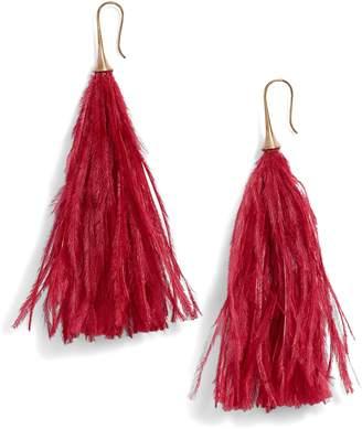 Serefina Long Feather Drop Earrings