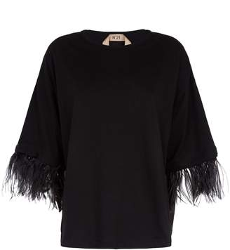 N°21 N 21 Feather Sleeve T-Shirt