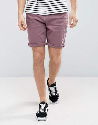 Asos DESIGN Denim Shorts In Stretch Slim Dusty Purple With Abrasions