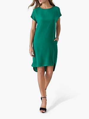 Pure Collection Silk Front Dress, Emerald Green