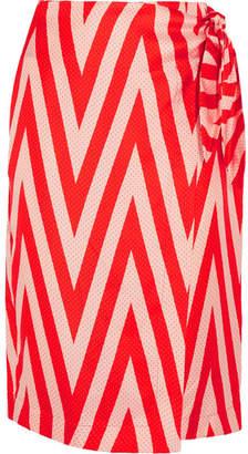 Diane von Furstenberg Wrap-effect Printed Silk-twill Skirt - Red