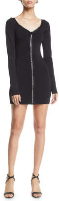 David Koma Long-Sleeve Zip-Front Knit Mini Dress