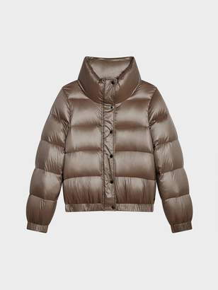 DKNY Down Puffer Jacket With Funnel Neck Metallic L