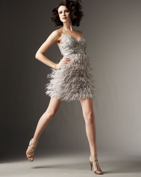 Sue Wong Feather-Skirt Dress