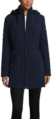 Liz Claiborne Woven Hooded Lightweight Quilted Jacket-Tall