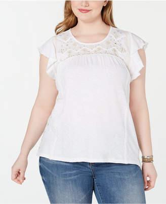 Style&Co. Style & Co Plus Size Cotton Lace-Yoke Cap-Sleeve Top