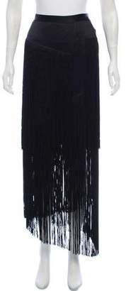 Tamara Mellon Fringe-Trimmed Silk Skirt w/ Tags