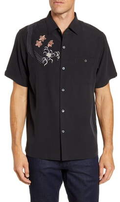 Tori Richard Koi Classic Fit Embroidered Short Sleeve Silk Blend Button-Up Shirt