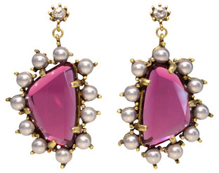 Gerard Yosca Pink and Pearl Drop Earrings