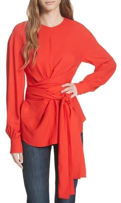 Diane von Furstenberg Long Sleeve Wrap Front Stretch Crepe Blouse