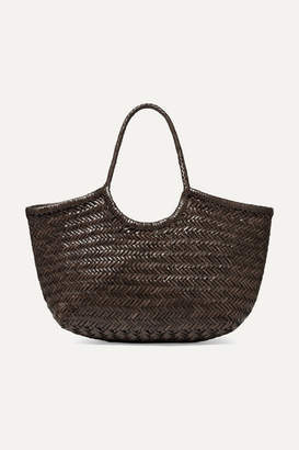 Dragon Optical Diffusion Nantucket Large Woven Leather Tote - Dark brown