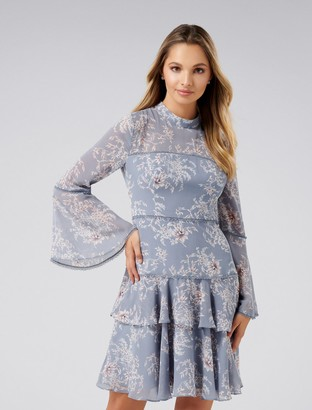 Forever New Archie Flare Sleeve Dress - Dusty Blue Floral - 4