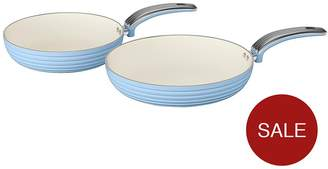 Swan Retro Set Of 2 Frying Pans – Blue