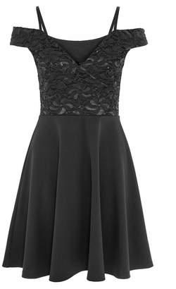 Quiz Black Sequin Lace Cold Shoulder Skater Dress