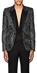 Saint Laurent MEN'S FLORAL ONE-BUTTON TUXEDO JACKET - SILVER SIZE 48 EU 00505054624184