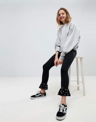 Bershka Kick Flare PANTS With Pearl Detail