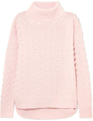 Lela Rose Dotted Wool And Cashmere-blend Turtleneck Sweater - Pink
