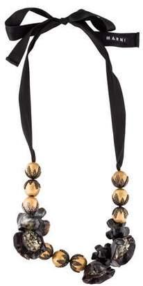 Marni Pyrite, Horn & Ribbon Collar Necklace