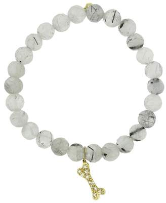 Sydney Evan Diamond Dog Bone Charm On Tourmaline Quartz Beaded Bracelet