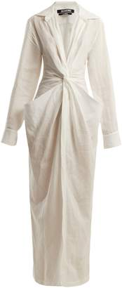 Bolso twisted-front linen and cotton-blend dress