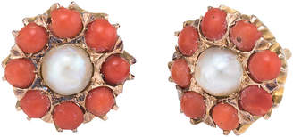 One Kings Lane Vintage Coral Pearl Round Stud Earrings - Precious & Rare Pieces