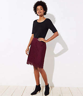 LOFT Scalloped Lace Pencil Skirt