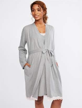 Motherhood Maternity Lace Trim Nursing Nightgown And Robe
