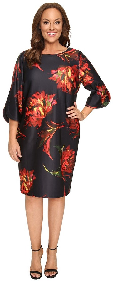 Christin Michaels Christin Michaels Plus Size Jeane Floral Print 3/4 Sleeve Dress