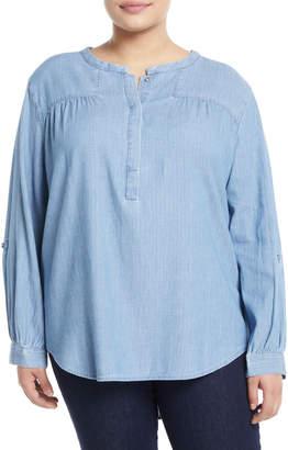 NYDJ Tessa Chambray Pullover Blouse, Plus Size