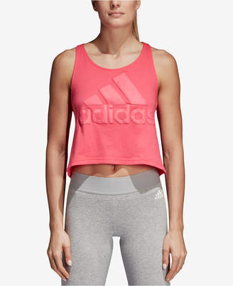 adidas Sport Id Cotton Cropped Racerback Tank Top