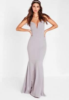 Missguided Scuba Bandeau Fishtail Maxi Dress Gray