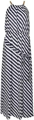 MICHAEL Michael Kors Michael Kors Diagonal Print Chain Neck Maxi Dress