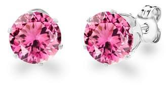 Loren Diane Lo'ren 18KT White Gold Plated 8mm Gemstone Crystal Cubic Zirconia Studs Earrings Set Women Jewelry