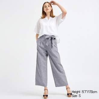 Uniqlo WOMEN Belted Linen Cotton Wide Straight Pants