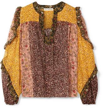 Ulla Johnson Norma Ruffled Printed Fil Coupé Silk-blend Chiffon Blouse