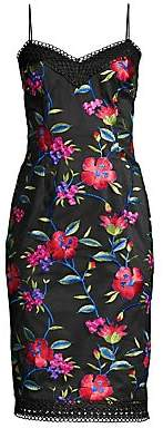 Aidan Mattox Women's Embroidered Floral Spaghetti Strap Dress - Size 0
