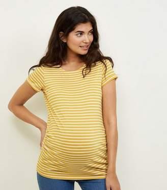 New Look Maternity Yellow Stripe Short Sleeve T-Shirt