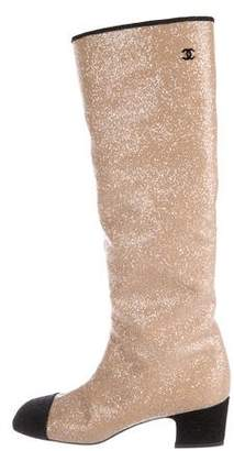 Chanel 2017 Glitter Cap-Toe Boots