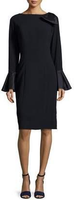 Rickie Freeman for Teri Jon Bell-Sleeve Crepe Sheath Dress, Navy $580 thestylecure.com