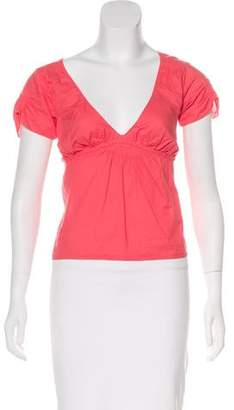 Marni Tie-Accented Short Sleeve Top