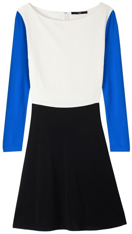 Tibi Matte Jersey Colorblock Dress