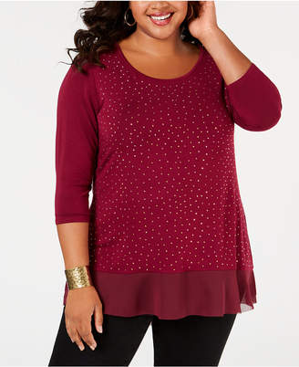 Belldini Belle by Plus Size Studded Chiffon-Hem Top