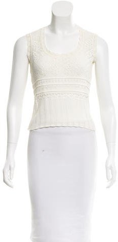 Christian Dior Open Knit Scoop Neck Top