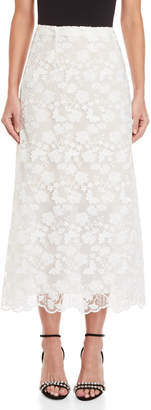 Giamba White Embroidered Tea Length Skirt