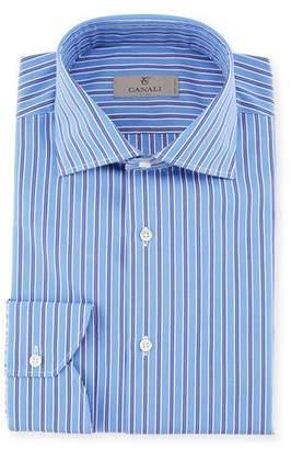 Canali Contrast Striped Dress Shirt, Blue