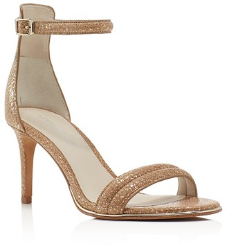 Kenneth Cole Mallory Metallic Snake-Embossed Ankle Strap Sandals $130 thestylecure.com