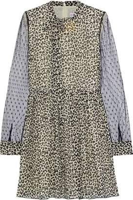 RED Valentino Point D'esprit-paneled Leopard-print Silk-blend Chiffon Mini Dress
