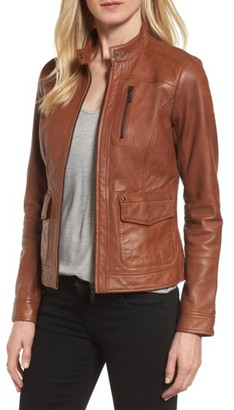 Women's Bernardo Kerwin Pocket Detail Leather Jacket $348 thestylecure.com