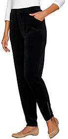 Factory Quacker Short Velour Slim Leg Pants w/Rhinestone Zip
